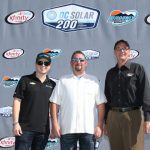 Brennan Poole, driver of the No. 48 DC Solar Chevy for Chip Ganassi Racing, Jeff Carpool, President and CEO, DC Solar and Bryan R. Sperber, President, Phoenix Raceway, annouce  a partnership between DC Solar and Phoenix International Raceway that begins in 2017. (Photo courtesy of Phoenix Raceway)