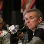 Ohio State head coach Urban Meyer speaks at PlayStation Fiesta Bowl media day on Thursday, December 29, 2016. He is attempting to lead his school to its seventh PlayStation Fiesta Bowl victory. (Photo by Logan Newman/Cronkite News)